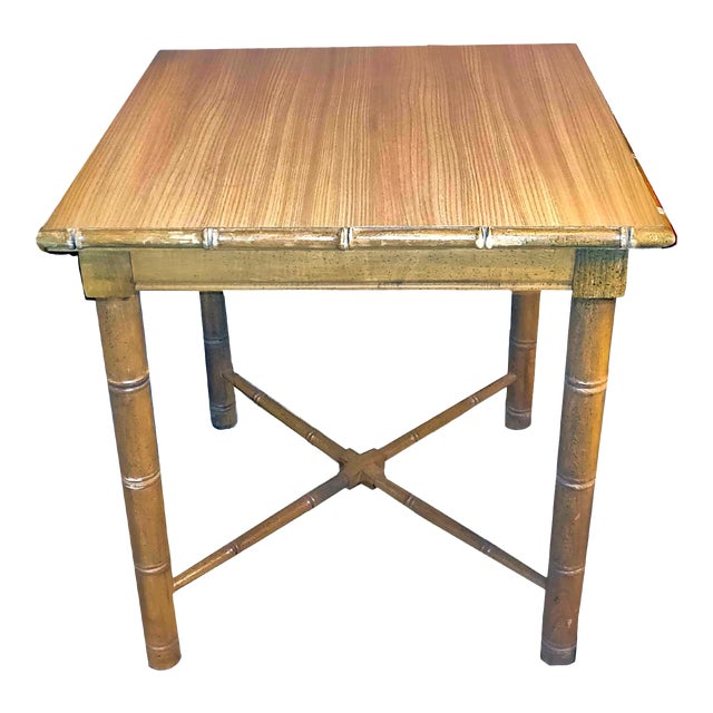Vintage Aesthetic Movement R J Horner Wood Formica Topped Faux Bamboo Rattan Side Table For Sale