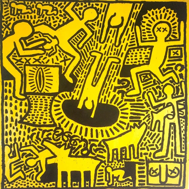 "Keith Haring Keith Haring Estate Rare Vintage 1993 Collector's Pop Art Lithograph Print ""Yellow People"" 1981 For Sale - Image 4 of 8"