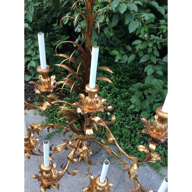 Hollywood Regency Gilt Lighted 8-Arm Wall Sconce For Sale In Boston - Image 6 of 9