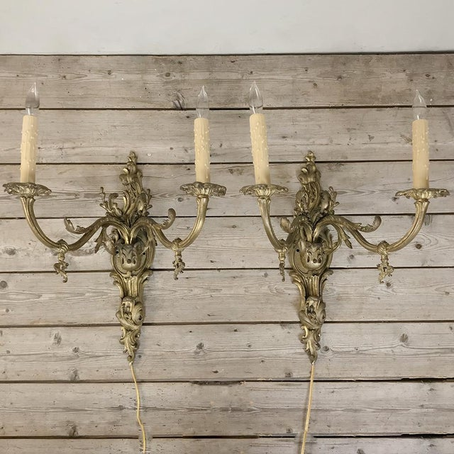 Grand Pair 19th Century Louis XV Cast Bronze Gasolier Electrified Wall Sconces For Sale - Image 13 of 13