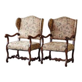 Pair of Louis XIV Style, Os de Mouton, Walnut Wingback Fauteuils For Sale