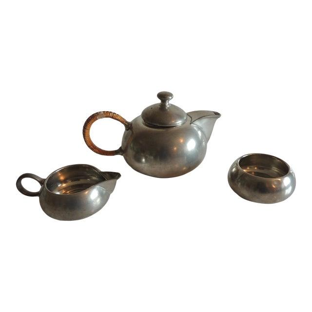 Vintage Decorative Pewter Tea Set. For Sale