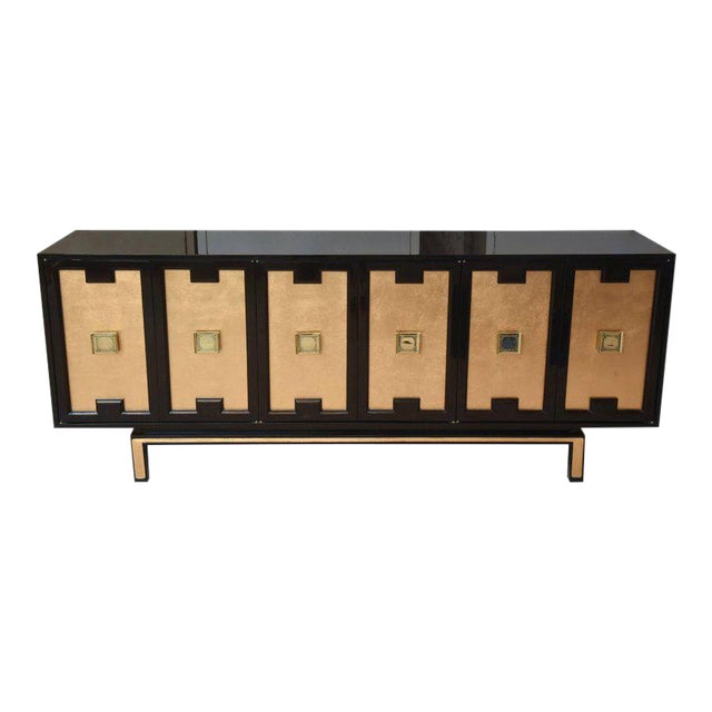Vintage Lacquered, Gold Leaf and Brass Cabinet/ Buffet For Sale