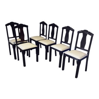 Refurbished Vintage French Art Deco Dining Room Chairs - Set of 6 For Sale