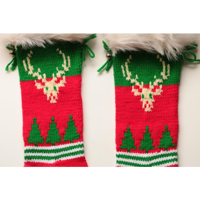 Vintage Hand-Knit Santa & Reindeer Stockings - A Pair - Image 5 of 8