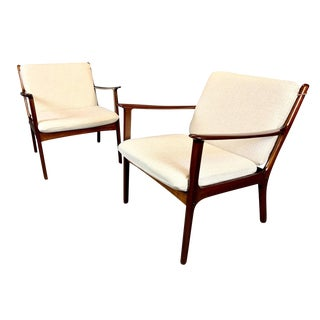 Vintage Ole Wanscher Mid-Century Danish Modern Mahogany Lounge Chairs - a Pair For Sale