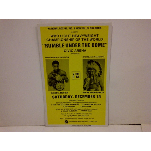 "This is a vintage boxing poster from the 1990 ""Rumble Under The Dome"" WBO Light Heavyweight Championship Of The World..."
