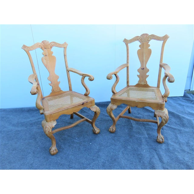Early 20th Century English Pine Chippendale Carved Arm Chairs - a Pair For Sale - Image 9 of 9