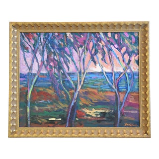 Santa Barbara California Impressionist Landscape Seascape Painting by Juan Guzman For Sale
