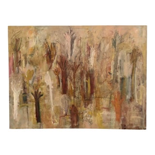 """""""Alters of the Invisible"""" Large Neutral Colored Abstract Expressionist Oil on Canvas For Sale"""