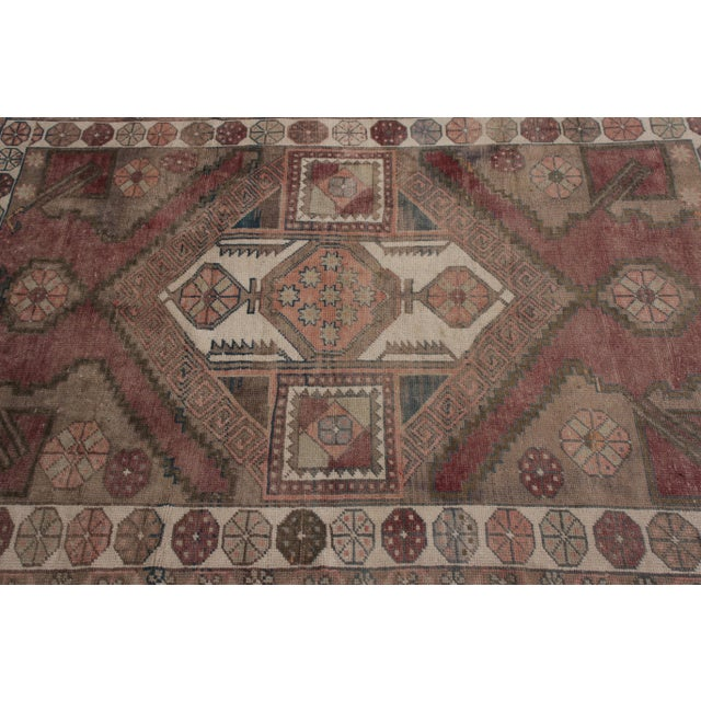 Tribal Antique Anatolian Rug in Beige-Brown Purple Tribal Geometric Pattern For Sale - Image 3 of 5