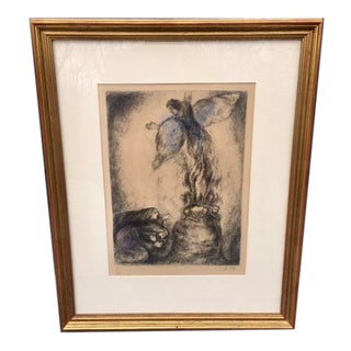 """1950s Marc Chagall """"Sacrifice De Manoach"""" Hand-Signed Etching Print For Sale"""