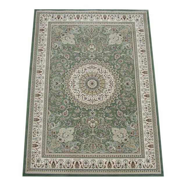 Traditional Medallion Green Rug - 5′3″ × 7′4″ - Image 1 of 8
