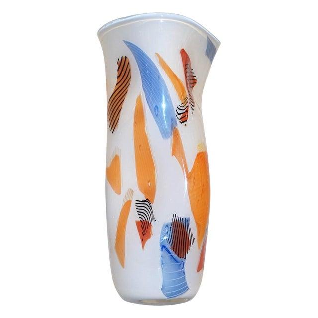 Davide Donà Italian Free-Form White Orange Red Blue Murano Art Glass Vase - in Showroom For Sale