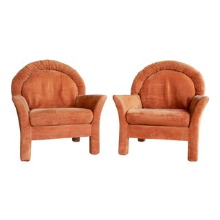 1970s Modernist Orange Velvet Parsons-Style Lounge Chairs, a Pair For Sale