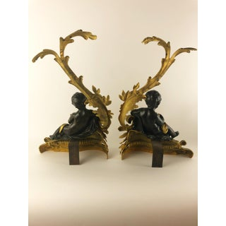 French Bronze Doré and Patinated Bronze Chenets With Cherubs, a Pair Preview