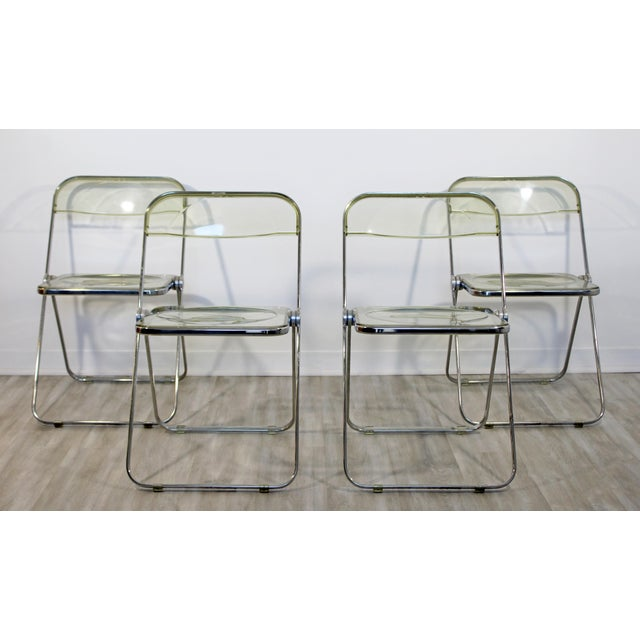 1960s Vintage Castelli Mid Century Modern Lucite Chrome Folding Side Chairs - Set of 4 For Sale - Image 12 of 12