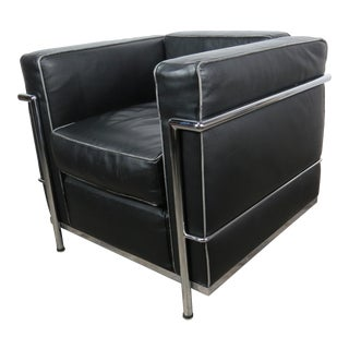 Cassina Italy Le Corbusier Lc2 Black Leather Club Chair For Sale