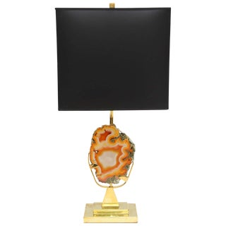 Willy Daro Agate and Brass Table Lamp For Sale