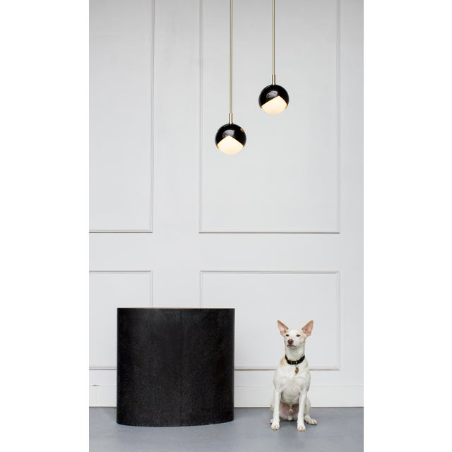 Contemporary Benedict Pendant in Blackened Brass, Satin Brass Details and Opal Glass For Sale - Image 3 of 5
