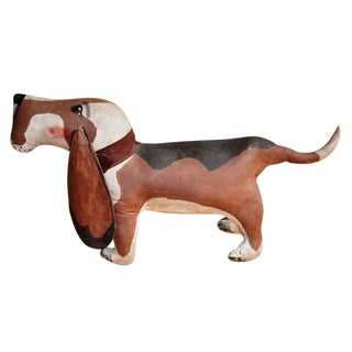 American Folk Art Stuffed Canvas Hound Dog