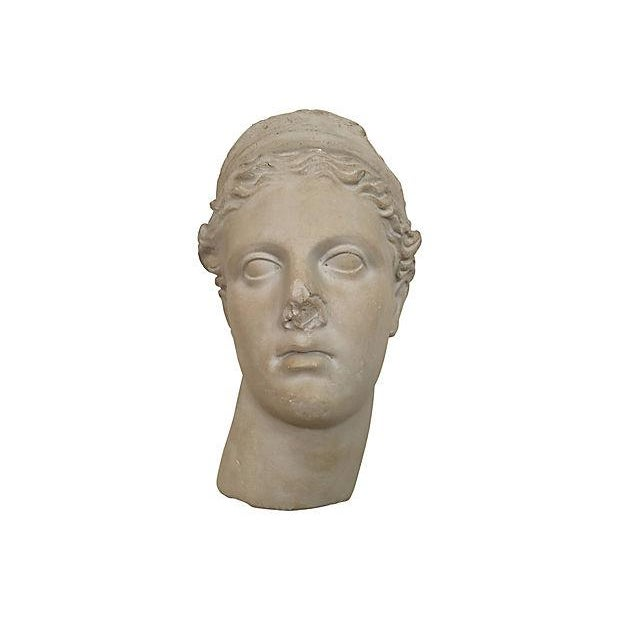 """Large Apollo plaster bust wall hanging with attached hardware to back for hanging. Dims: 13.5"""" L x 8.5"""" W x 6"""" H"""