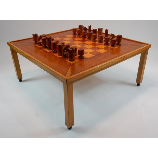 Rare mid-century chess/ game table by Lane. Estimated 1950s. Game table comes with original chess pieces and box. Table is...