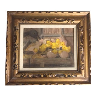 Original Vintage Painting Chicks in Barn For Sale