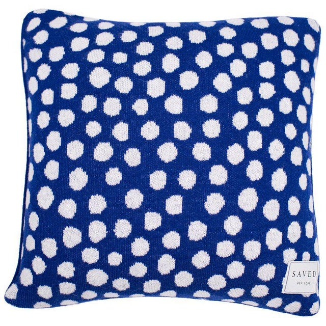 Mr. Good luck cat pillow with polka dot back by Nathalie Lete 80% Cashmere 20% Wool SIZE 20 x 20 inches