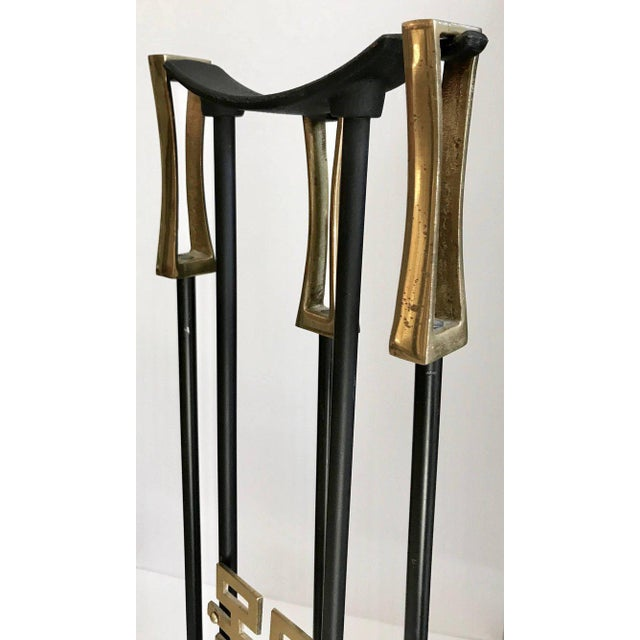 Asian Modern Brass and Iron Fireplace Tool Set For Sale In Dallas - Image 6 of 13