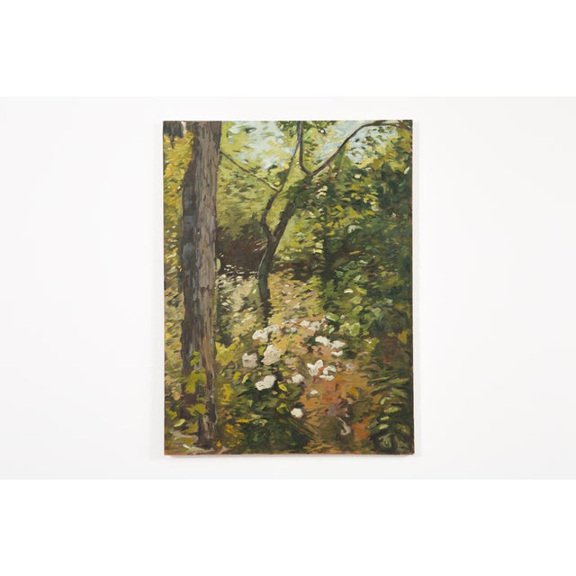 """The Woods Beckon"" is a 2017 acrylic painting by Slater Sousley. Sousley paints a glimpse into a blossoming forest scene..."