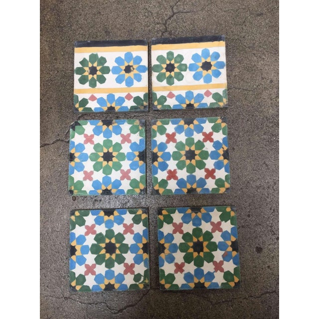 1990s Moroccan Hand-Crafted encaustic Cement Tile with Traditional Fez Moorish Design - Set of 56 For Sale - Image 10 of 13