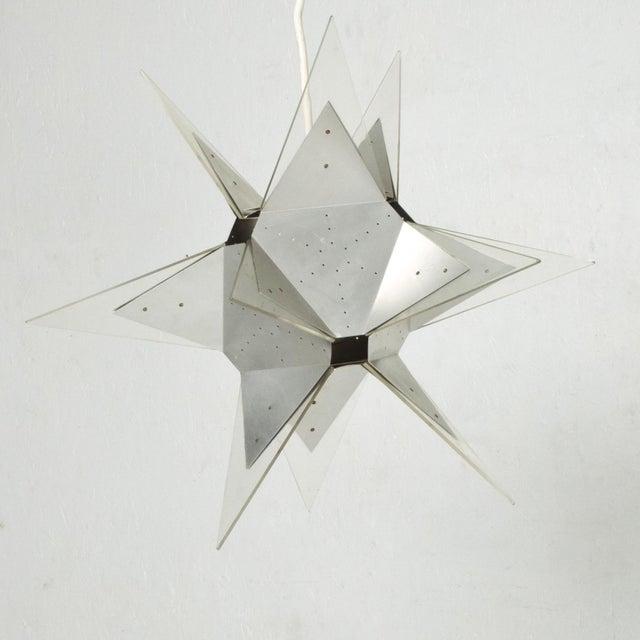 Mid-Century Modern Mid-Century Modern Aluminium and Plexiglass Moravian Star Pendant Lamp, 1960s For Sale - Image 3 of 7