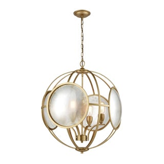 Modern Round Brass and Antique Mirror Geometric Pendant Light For Sale