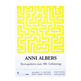 Anni Albers 1999 Vintage Exhibition Poster in Museum Quadrat, Bottrop Germany For Sale