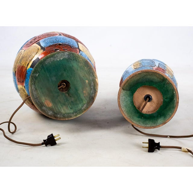 Mid-Century Modern Italian Volcanic Glazed Pottery Ceramic Table Lamps - Set of 2 For Sale - Image 12 of 13