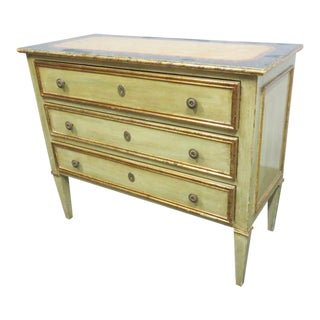 Italian Painted Faux Marble Top Commode For Sale