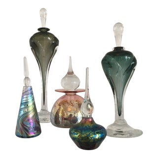 Collection of Five Glass Perfume Bottles For Sale
