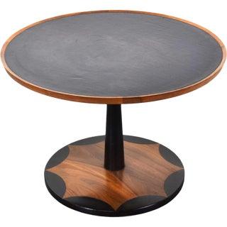 Vintage Mid-Century Modern Walnut Leather Top Side Table