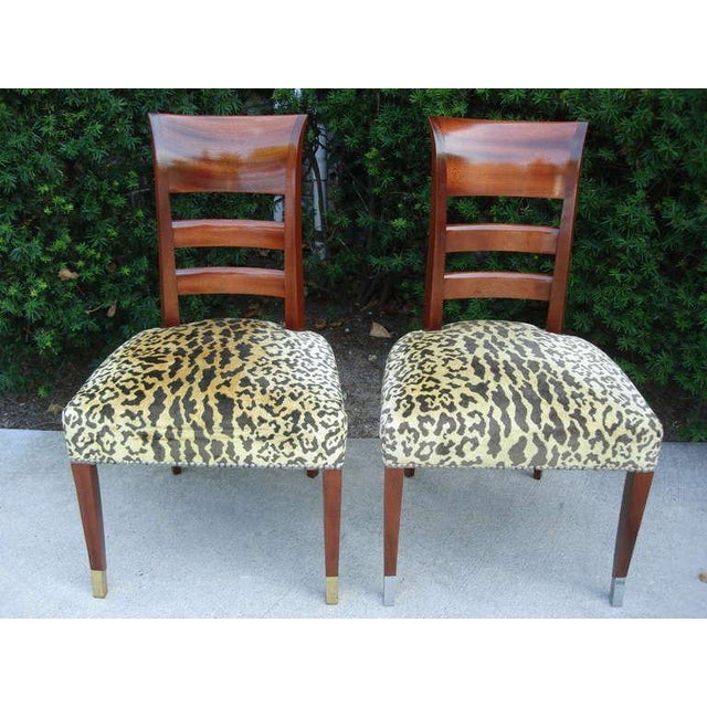 Empire Set of Six French Art Deco Chairs in the Manner of Jean Pascaud For Sale - Image 3 of 7