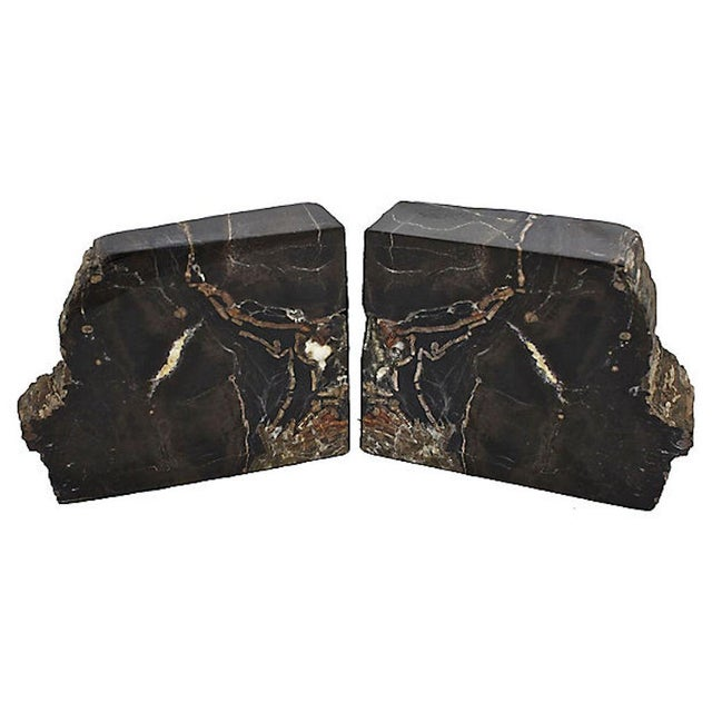1960s Vintage Petrified Wood Bookends For Sale - Image 5 of 10