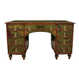 Early 20th Century Regency Style Double Pedestal Partners Desk For Sale