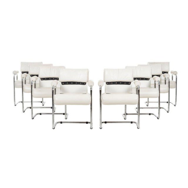 Mariani for Pace dining chairs set of 8, tubular chrome frame with upholstered leather seat and back with detailed strips...
