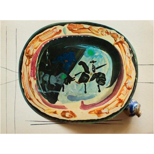Cubism 1955 Pablo Picasso, Picador and a Bull Ceramics Plate, Original Period Swiss Lithograph For Sale - Image 3 of 6
