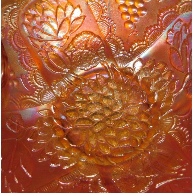 Glass Orange Fenton Lotus & Grapes Bonbon Dish For Sale - Image 7 of 10