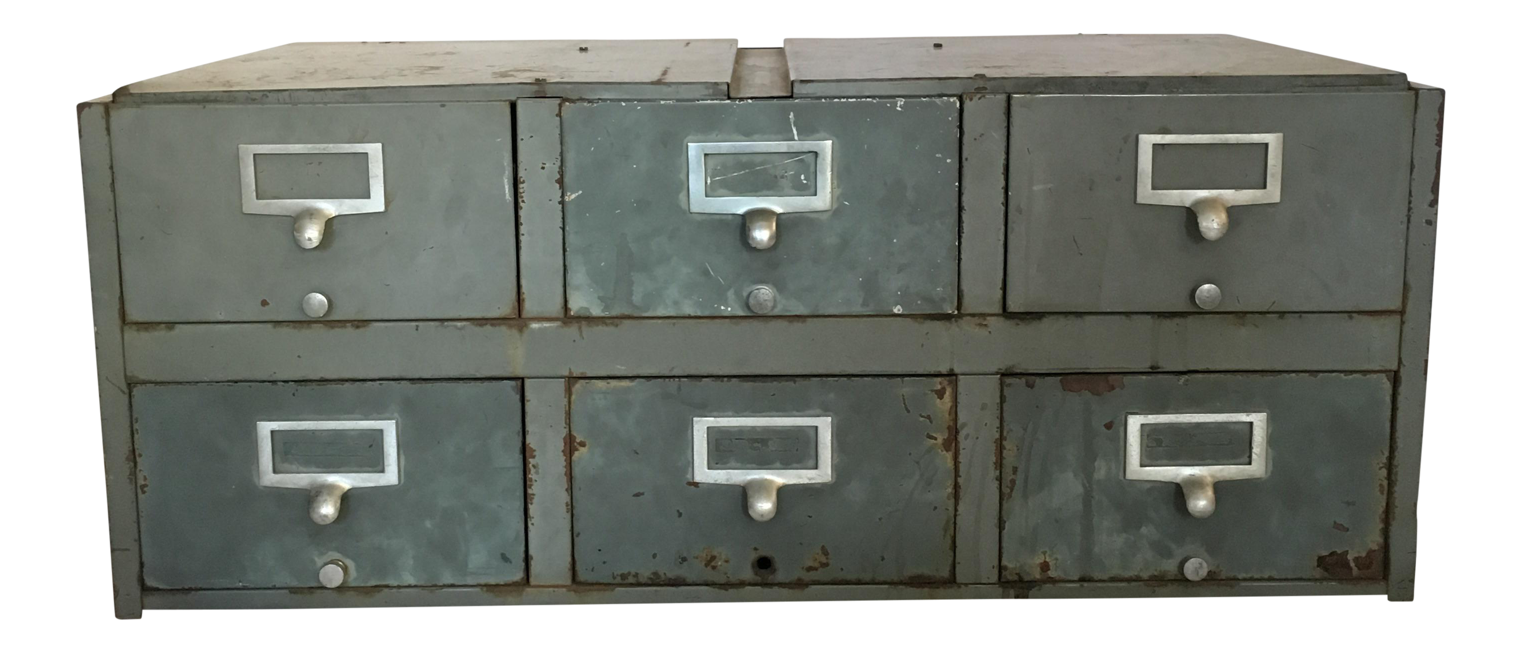 Vintage Industrial Metal Library Card Catalog File