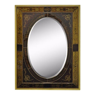 Large Italian Venetian Style Hollywood Regency Reverse Decorated Wall Mirror For Sale