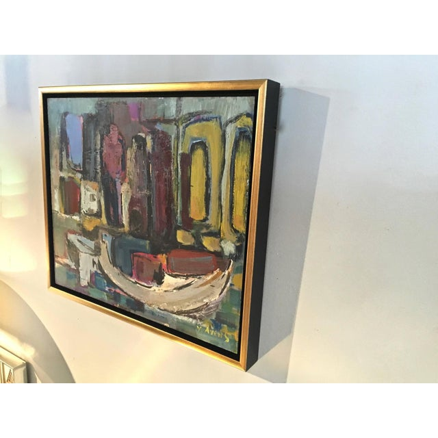 Signed Mid-Century Abstract Oil on Board - Image 9 of 10