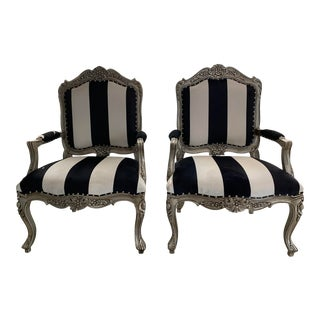 Early 20th Century Reupholstered Carved Armchairs- A Pair For Sale