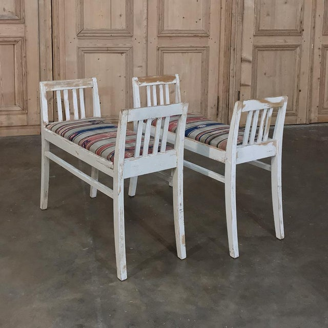 Pair 19th Century Antique Swedish White Painted Stools With Ikot Upholstery For Sale In Baton Rouge - Image 6 of 11